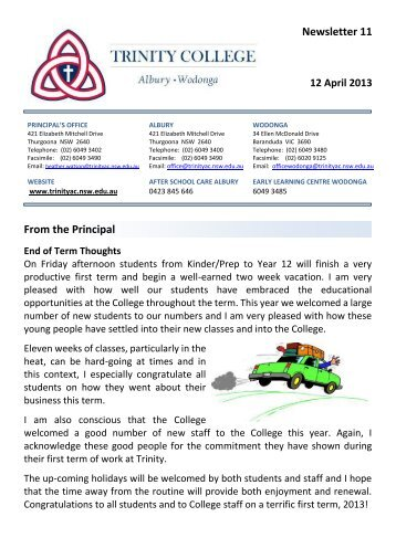 Newsletter 11 From the Principal - Trinity College