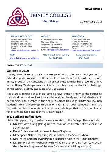 Newsletter 1 From the Principal - Trinity College