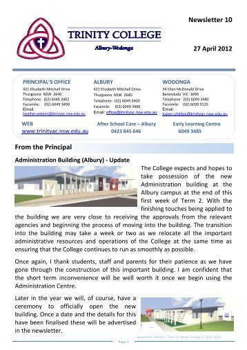 Newsletter 10 From the Principal - Trinity College