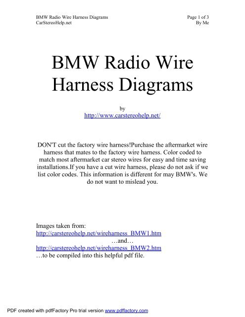 Bmw Stereo Wiring Harness Color Codes Car Audio Wire Diagram ... on