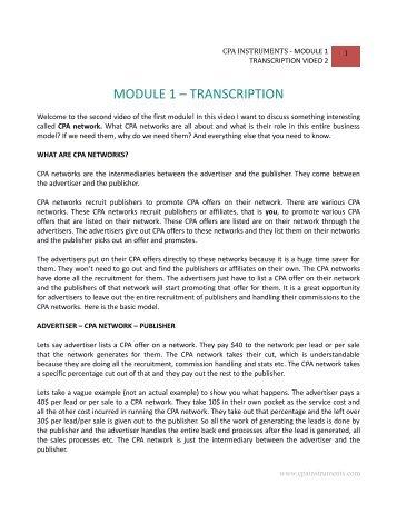 MODULE 1 – TRANSCRIPTION - CPA Instruments
