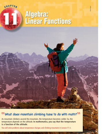 Chapter 11: Algebra: Linear Functions