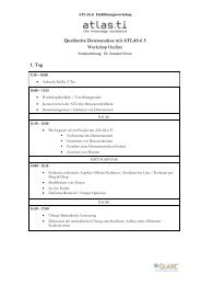 Qualitative Datenanalyse mit ATLAS.ti 5 Workshop Outline 1. Tag