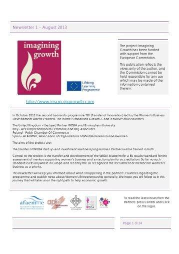 http://www.imagininggrowth.com Newsletter 1 – August 2013
