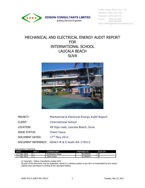 mechanical and electrical energy audit report for