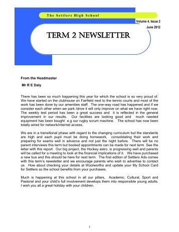 TERM 2 NEWSLETTER - the settlers high school