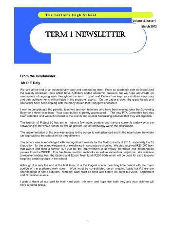 TERM 1 NEWSLETTER - the settlers high school