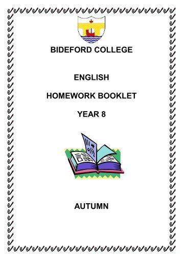 bideford college english homework booklet year 8 autumn