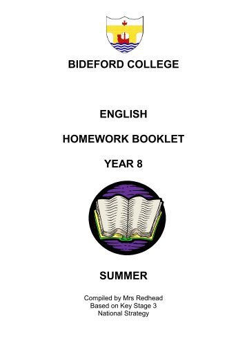 bideford college english homework booklet year 8 summer