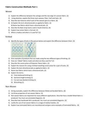 Fabric Construction Methods Part 1 - Linux.bideford.devon.sch.uk