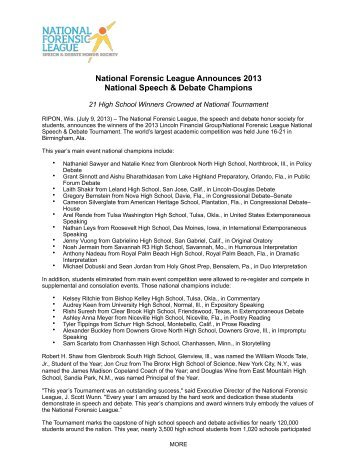 National Forensic League Announces 2013 National Speech ...