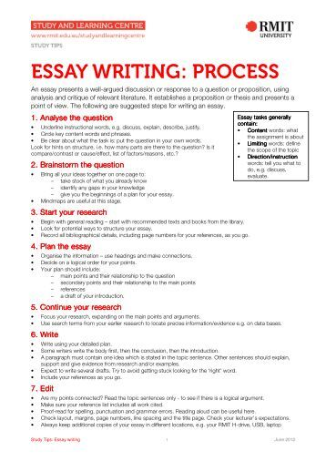 writing essay process Monterey peninsula college english & study skills center sample process essay many students immediately panic when they are faced with the task of writing an essay.