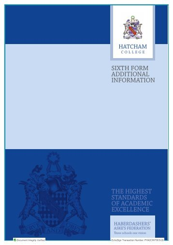 Post 16 Additional Information Booklet - Haberdashers