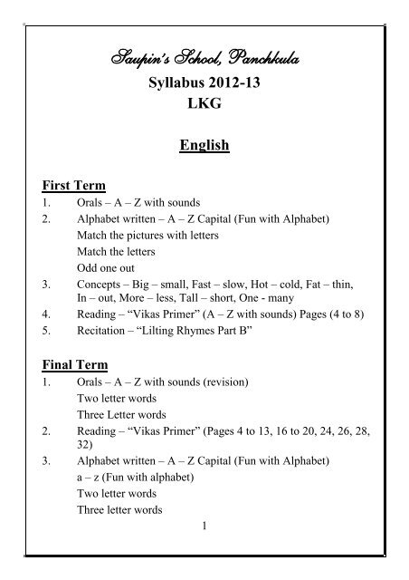 Syllabus 2012-13 LKG English - saupin's school, panchkula