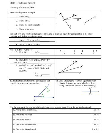 Geometry 2nd semester exam review answers