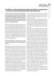 Das Medien- und Kommunikationsverhalten der Kinder und ... - gfmks