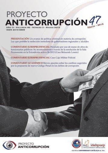 Boletín: Proyecto Anticorrupción Nº 47 - Marzo 2015