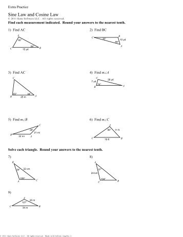 Law Of Sines and Cosines Word Problems Worksheet with Answers ...