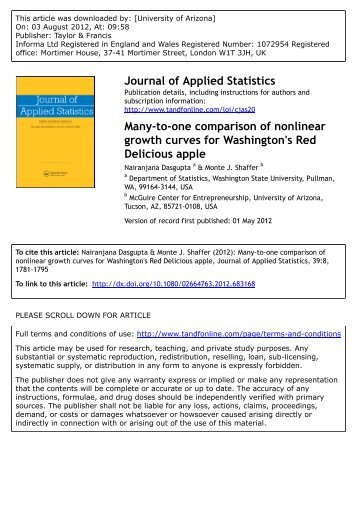 Many-to-one comparison of nonlinear growth ... - Monte J. Shaffer
