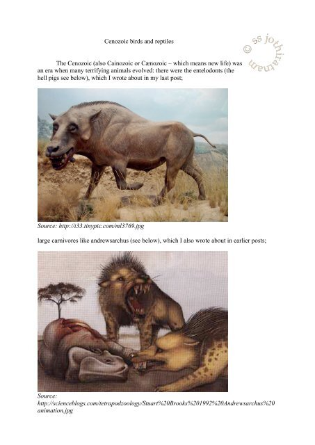 Cenozoic birds and reptiles The Cenozoic (also Cainozoic or