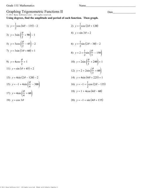 Graphing Trigonometric Functions II y=af(k(x-p))+q pdf