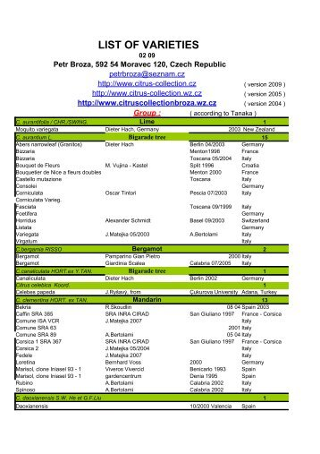 3.list of varieties last time updated Jan.05 - Citrus Collection