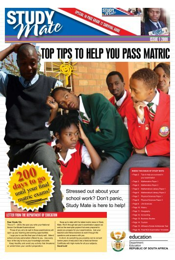 TOp Tips TO Help YOu pass MaTric - Thutong