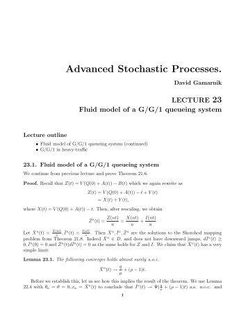 Advanced Stochastic Processes.