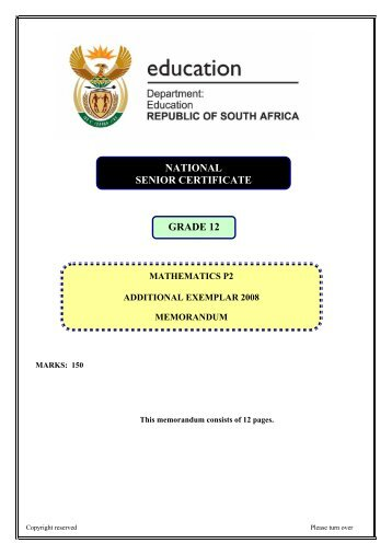 NATIONAL SENIOR CERTIFICATE GRADE 12 - Maths Excellence