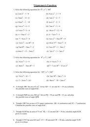 Trigonometric Equations - Knightswood Secondary School