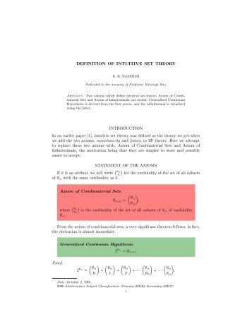 DEFINITION OF INTUITIVE SET THEORY ... - E-atheneum.net