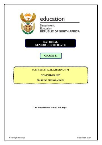 NATIONAL SENIOR CERTIFICATE GRADE 11 - Maths Excellence
