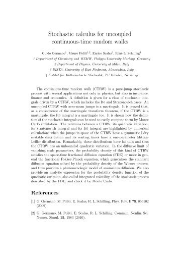 Stochastic calculus for uncoupled continuous-time ... - CCP2010