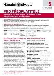 Bulletin pro předplatitele - 5 - Národní divadlo