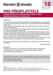 Bulletin pro předplatitele - 10 - Národní divadlo