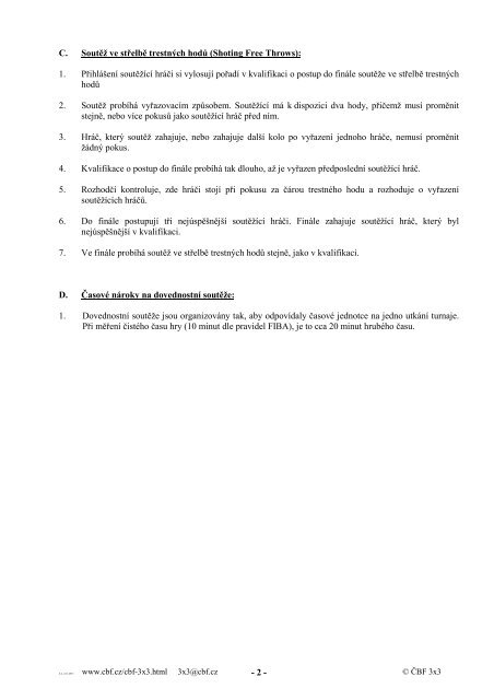 Rozpis soutěže – Příloha č. 2 Pravidla dovednostních soutěží ČBF ...