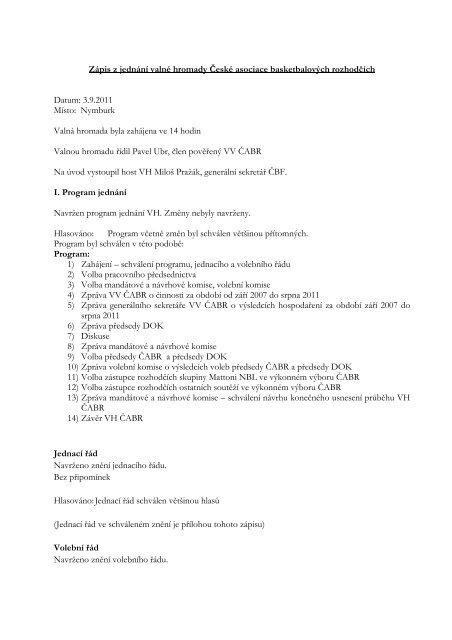 Zápis z jednání - Česká Asociace Basketbalových Rozhodčích - ČBF