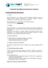 Technická špecifikácia účastníckych rozhraní