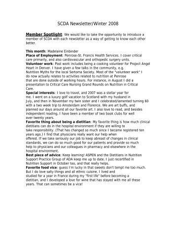 SCDA Newsletter/Winter 2008
