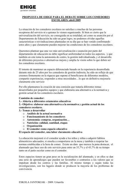 CONCLUSIONES SOBRE LA ENCUESTA DE COMEDORES - Bige