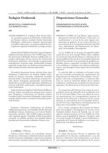 22/2009 Dekretua, otsailaren 3koa - Euskadi.net