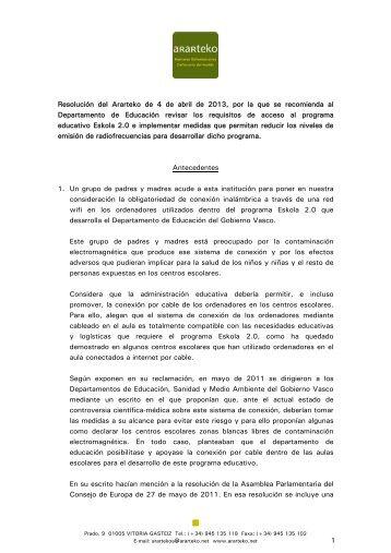 Resolución del Ararteko de 4 de abril de 2013, sobre la obligación ...