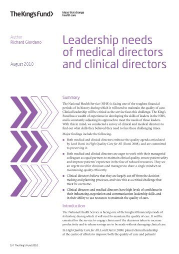 Leadership Needs of Medical and Clinical Directors - CTR training ...
