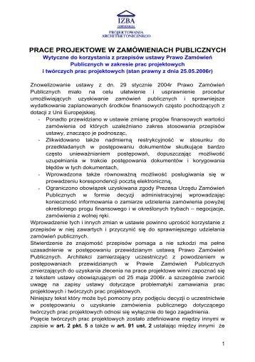 PRACE PROJEKTOWE W ZAMÓWIENIACH PUBLICZNYCH - WA.pl