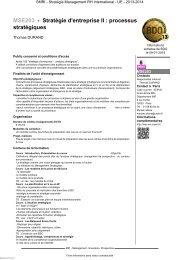 MSE203 - Stratégie d'entreprise II : processus stratégiques - Cnam