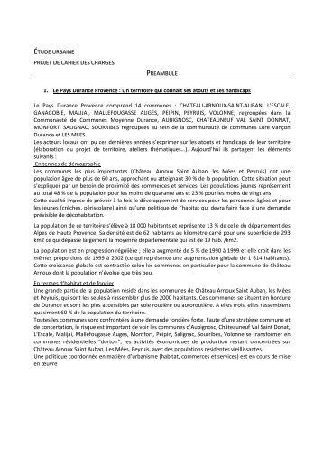 ÉTUDE URBAINE PROJET DE CAHIER DES CHARGES ... - Accueil