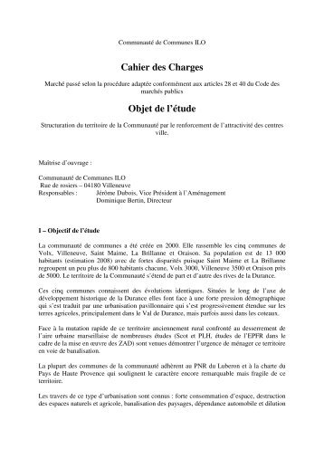 Cahier des Charges Objet de l'étude - Accueil