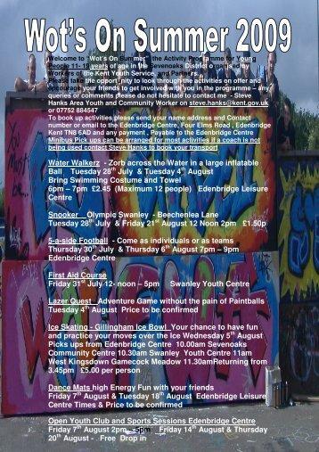 Wot's On Summer 2009 Programme - Dunton Green Parish Council