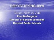 DEMYSTIFYING IEPs - Psharvard.org