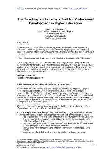 Teaching portfolio for professional development in higher ... - Reap